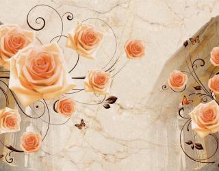 Фотообои Архитектура и розы 3д 19268