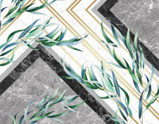 Фотообои Мраморный фон с листьями 28345