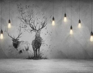 Фотообои Стена с лампами и оленем 23817