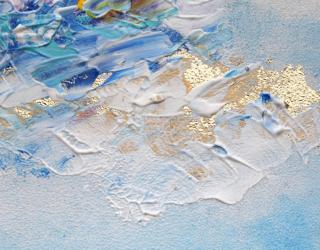 Фотообои Голубые мазки с золотом 28734