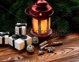 Фотообои Елки, лампа, свеча 346419257