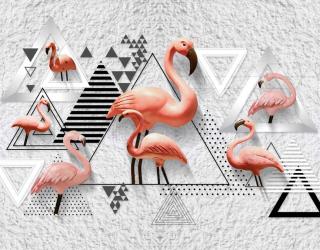 Фотообои Фламинго и геометрия 22085