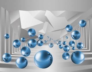 Фотообои синие шары в воздухе перспектива 21579