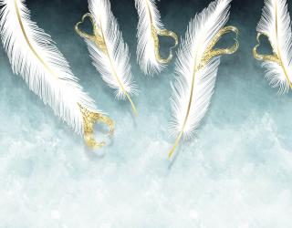 Фотообои Белые перья и золото 28592