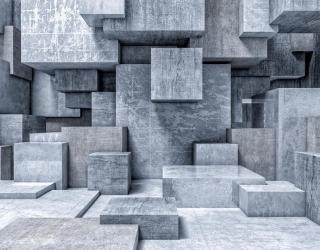 Фотообои серые гранитные кубы 3Д 21570