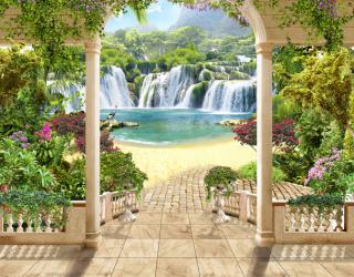 Фотообои Террасса с видом на водопад 22809