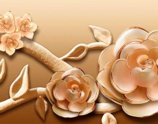 Фотообои Объёмные 3d цветы 18772