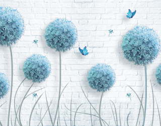 Фотообои Голубые цветы 23745