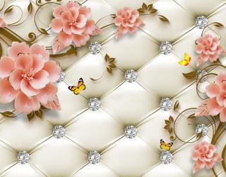 Фотообои Керамические цветы на фоне оббивки 22941