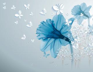 Фотообои Синий абстрактный цветок 20194