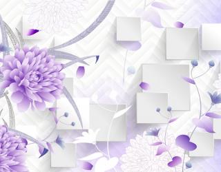 Фотообои Фиолетовые цветы 3д 22948