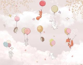 Фотообои Звери на воздушных шариках в розовом небе 22138