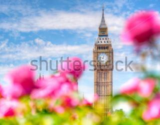 Фотообои Биг - Бен, цветы 308599421