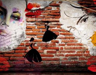 Фотообои Стена с лицами о_15864965