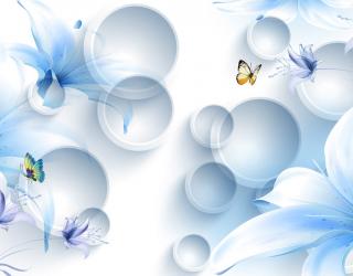 Фотообои  Синие цветы с бабочками 22166