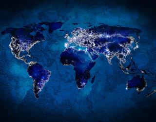 Фотообои Ночная карта с огнями 20838