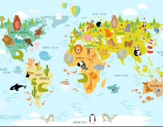 Фотообои Детская интерактивная карта 22778