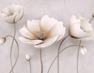 Фотообои Керамические цветы на бежевом фоне 20200
