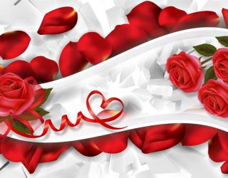 Фотообои Красные розы с лентами 22468