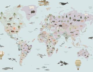 Фотообои Детская карта с флорой и фауной 20121