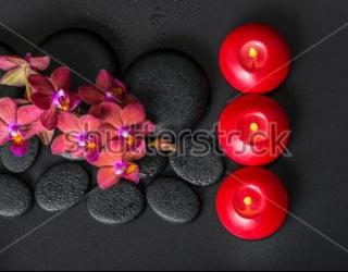 Фотообои Орхидеи, свечи, камни 358619825
