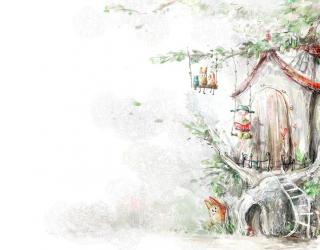 Фотообои Сказочные жители на дереве 7895
