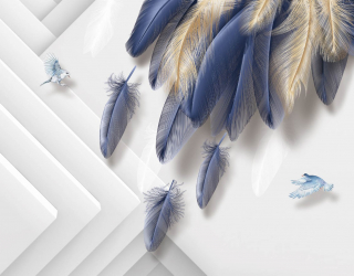 Фотообои Синие 3д перья 27848