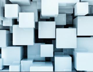 Фотообои Белые кубы в воздухе 3Д 20539