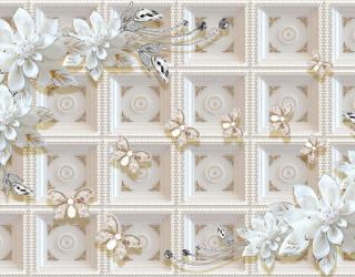 Фотообои Керамические цветы на фоне золотой стены 22570