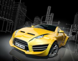 Фотообои желтый автомобиль 20486