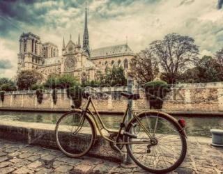 Фотообои Париж, велосипед, река 342081257