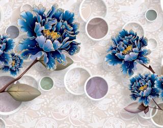 Фотообои  Цветы синие обьемные 22280