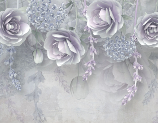 Фотообои Фиолетовые цветы 3д 23754