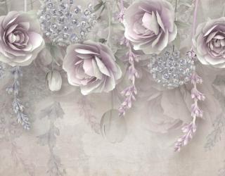 Фотообои Фиолетовые 3д цветы 23754
