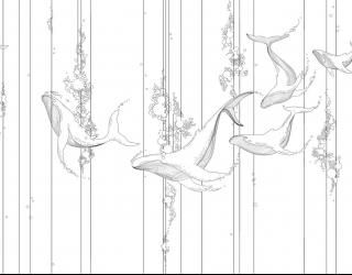 Фотообои Линейные киты 26156