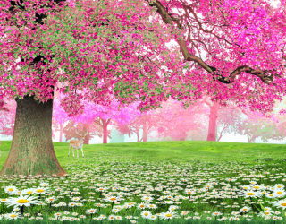 Фотообои Розовое дерево и олень 22916