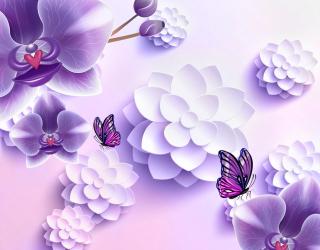 Фиолетовые орхидеи 3Д 20066