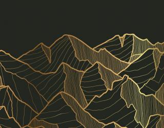 Фотообои Золотые горы на чёрном 26180