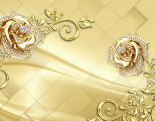 Фотообои  Золотые брошки на коричневом фоне 22300