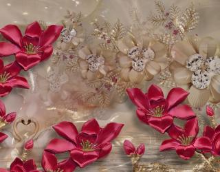 Бордовые цветы 3д 20258