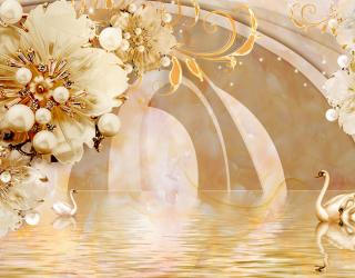 Фотообои  Тонель с золотыми цветами 22286