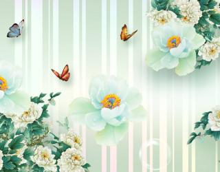 Фотообои  Салатовые цветы 3д 22271