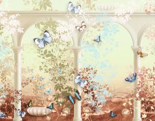 Фотообои Фреска с арками и бабочками 23815