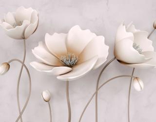 Фотообои Стереоскопические бежевые цветы  20035