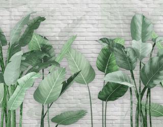 Фотообои Банановые листья на кирпичном фоне 22946