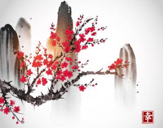 Фотообои Рисованная сакура в японском стиле 23077
