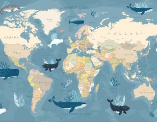 Фотообои Карта с животными 23986
