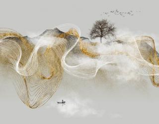 Фотообои Золотая абстракция с деревом 29310