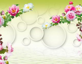 Фотообои 3д цветы с кольцами 18610
