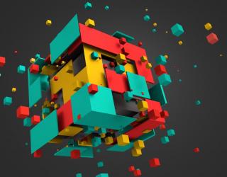 Фотообои разноцветный куб 3Д  20941